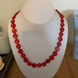 Jewelry - Red Coral Stone Necklace & Bracelet Set